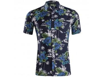 Camisa Estampada Masculina - Floral Azul Escuro