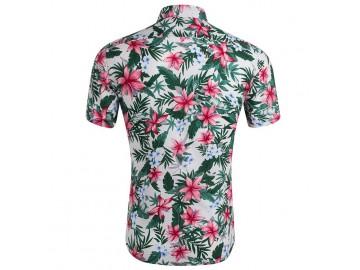 Camisa Estampada Masculina - Floral Verde/Vermelho