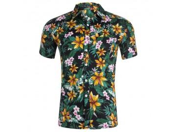 Camisa Estampada Masculina - Floral Preto/Verde/Amarelo