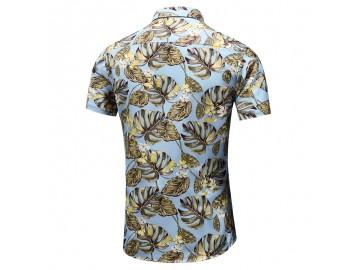 Camisa Floral Masculina - Azul/Amarelo