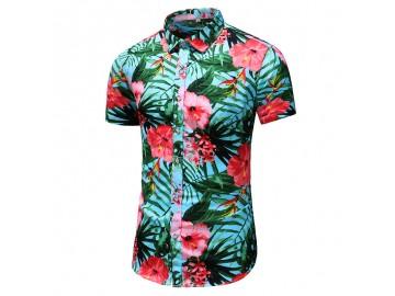 Camisa Floral Masculina - Floral Vermelho