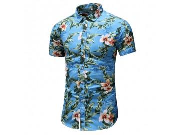 Camisa Floral Masculina - Azul Celeste