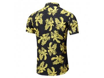 Camisa Floral Masculina - Preto/Amarelo