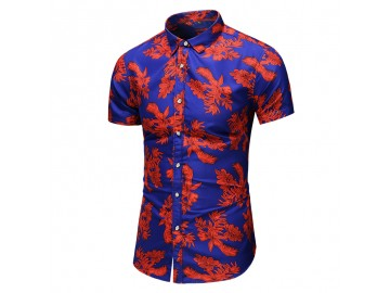 Camisa Floral Masculina - Vermelho