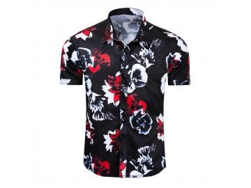 Camisa Floral Masculina - Preto