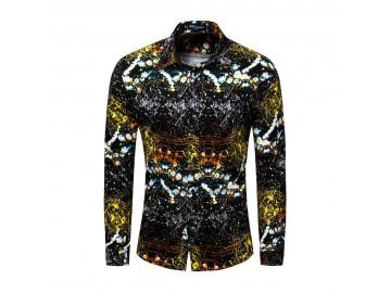 Camisa Estampada Masculina - Preto/Dourado