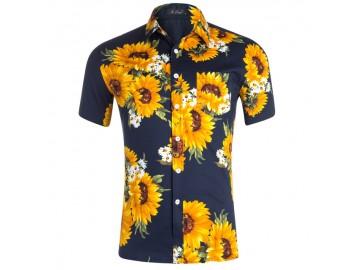 Camisa Floral Masculina - Azul Marinho
