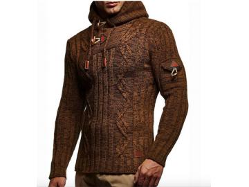 Cardigan Masculino Knit Button - Marrom