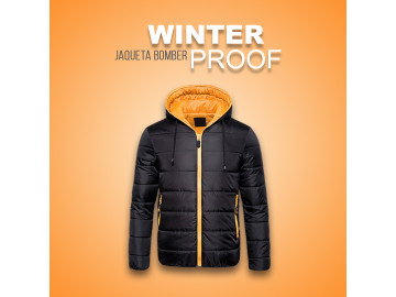Jaqueta Bomber Winter Proof - Preta e Laranja