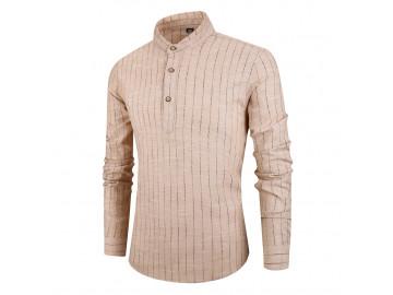 Camisa Masculina Listras Horizontais Gola Mandarim - Caqui