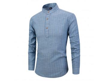 Camisa Masculina Listras Horizontais Gola Mandarim - Azul