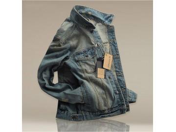 Jaqueta Masculina Jeans Estonada com Bolso Frontal - Azul