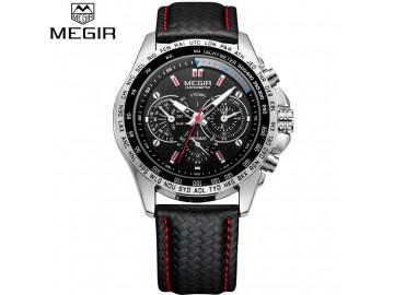 Kit 2 Relógios Masculinos Megir 1010 Military Pulseira de Couro e Movt Quartzo - Branco e Preto