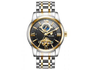 Relógio Tevise T805D Masculino Automático Pulseira de Aço Inoxidável - Preto e Dourado