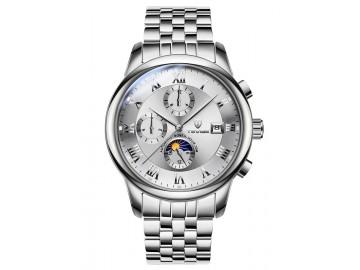 Relógio Tevise 9008 Masculino Automático Pulseira de Aço Inoxidável - Branco