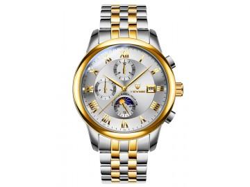 Relógio Tevise 9008 Masculino Automático Pulseira de Aço Inoxidável - Branco e Dourado