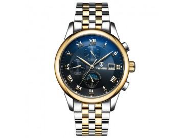 Relógio Tevise 9008 Masculino Automático Pulseira de Aço Inoxidável - Dourado e Azul