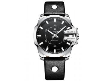 Relógio Tevise T814 Masculino Automático Pulseira de Couro Preto - Preto e Prata