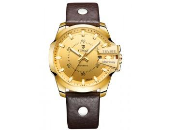 Relógio Tevise T814 Masculino Automático Pulseira de Couro Marrom - Dourado