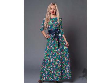 Vestido Longo Floral com Laço - Verde