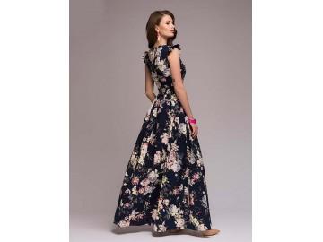 Vestido Longo Estampa Flores Manga Raglán - Azul