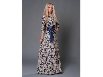 Vestido Longo Estampa Floral - Azul