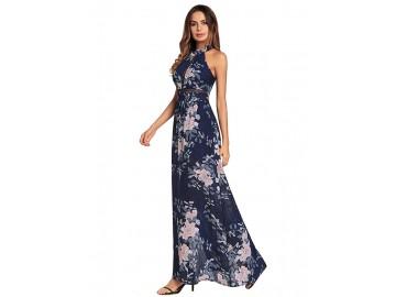Vestido Longo Floral com Laço nas Costas - Azul Royal