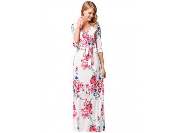 Vestido Longo Floral com com Cinto Manga 3/4 - Branco