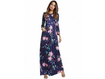 Vestido Longo Estampa de Rosas - Azul Royal