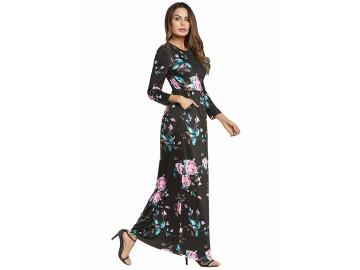 Vestido Longo Estampa de Rosas - Preto
