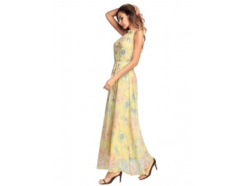 Vestido Longo Floral Sem Manga - Amarelo