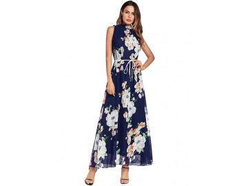 Vestido Longo Estampa de Flores Sem Manga - Azul Royal
