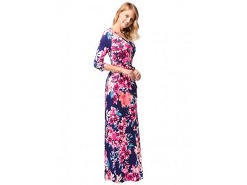 Vestido Longo Florido com Laço Manga 3/4 - Azul Escuro