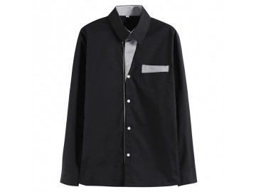 Camisa Masculina Slim Com Listras Manga Longa - Preto