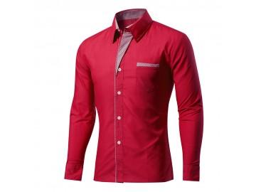 Camisa Masculina Slim Com Listras Manga Longa - Vermelho Escuro