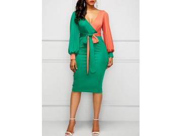 Vestido Midi Bicolor Laço Manga Longa - Verde/Laranja
