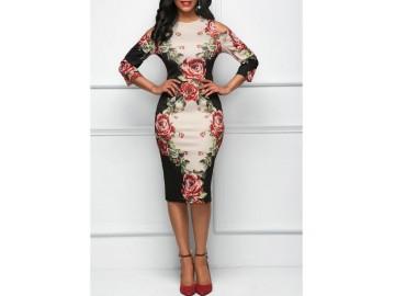 Vestido Estampa de Rosas Recorte Manga 3/4