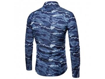 Camisa Masculina Slim Camuflada Manga Longa - Azul Escuro