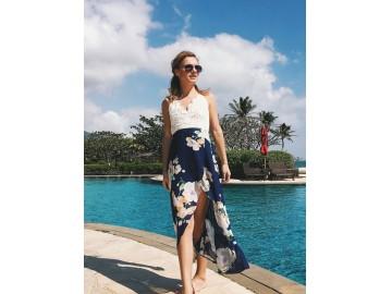 Vestido Longo Floral com Fenda e Renda - Azul