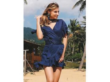 Vestido Curto Babado com Laço - Azul