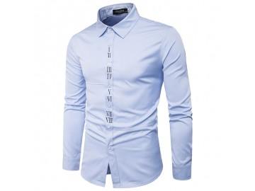Camisa Masculina Slim Casual Com Detalhe Romano Manga Longa - Azul Claro