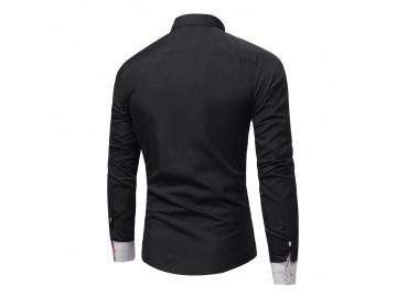 Camisa Masculina Slim Casual Manga Longa - Preto