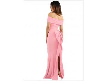 Vestido Longo Elegante Babado nas Costas Ombro a Ombro - Rosa Claro