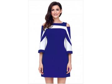 Vestido Curto Recorte Manga Longa - Azul