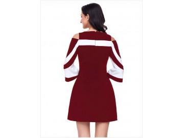 Vestido Curto Recorte Manga Longa - Vinho