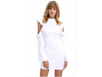 Vestido Curto Recorte Zíper nas Costas Manga Longa - Branco