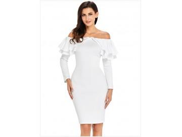 Vestido Elegante Babado Manga Longa - Branco