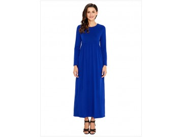 Vestido Longo Manga Longa - Azul