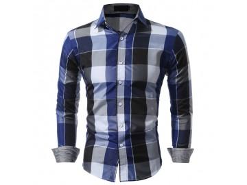 Camisa Masculina Slim Xadrez Manga longa - Azul