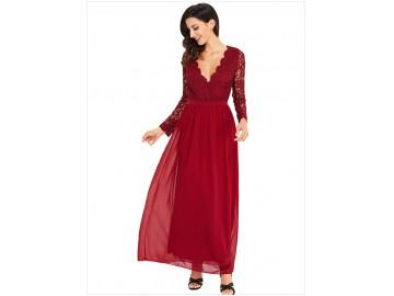 Vestido Longo de Renda Decote V Manga Longa - Vermelho